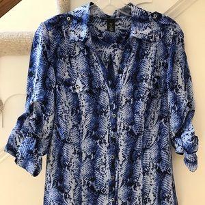 WHBM blue silk long sleeve blouse snakeskin